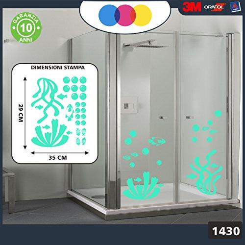 Aufkleber für docce-fantasia Blasen, Korallen und Fische Tropische Cod.1430 Teal -