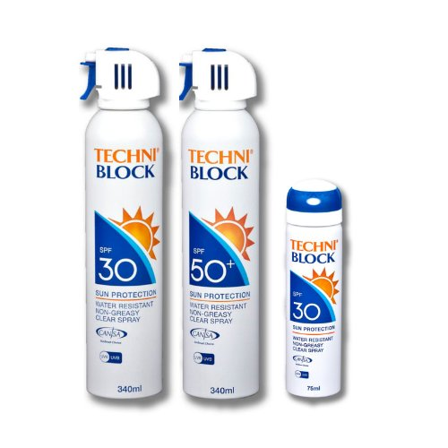 Techniblock® SPF30 340ml x 2 and SPF50+ Sun Spray 340ml x 2 + FREE Travel Pack