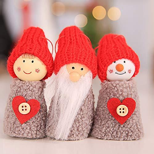 Dooret Weihnachten kreative alte Mann Puppe Kleine hängende graue tannenzapfen Puppe hängen 3 stück Set Baum anhänger grau Herz