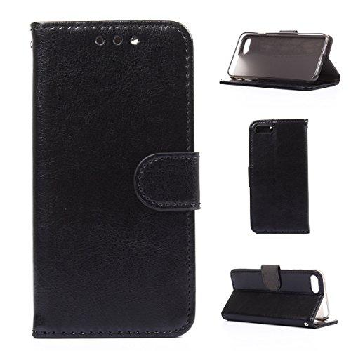 iPhone 7 Hülle,Fodlon® Mode Brieftasche mit Karte Schlitze Telefon Schutzhülle -Weiß schwarz
