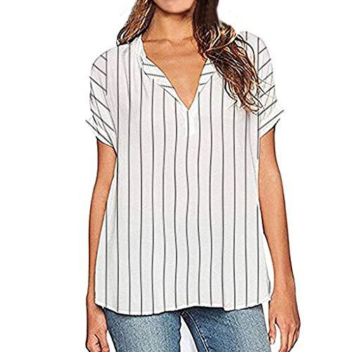 kolila Damen Gestreifte Oberteile Womens Striped Tops Casual V-Ausschnitt Streifen Kurzarm Top Shirts Bluse Tunika -
