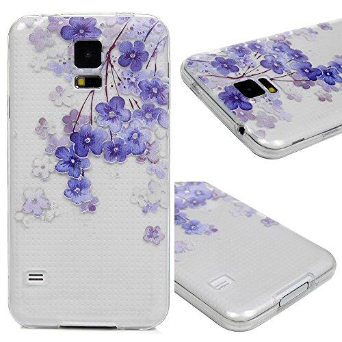 Edauto für Samsung Galaxy S5 9600 Hülle Silikon Case Ultra Dünn Handyhülle Schutzhülle Transparent Handyschale Handytasche Malen Tasche TPU Durchsichtige Schale Soft Etui Lila Blumen