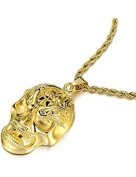Gotik Punk Gold Schädel-Anhänger Edelstahl Halskette für Herren Poliert mit 75CM Stahl Seil-Kette
