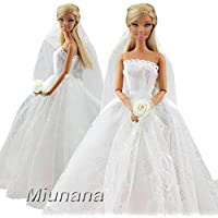 Miunana 1 Vestido de Novia con 1 Velo Vestir Ropa Boda Accesorios como Regalo para Muñeca