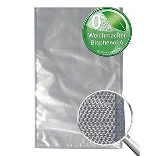 Vakuumbeutel goffriert und kochfest, 100 Stück, 20 cm x 30 cm -Längere Frische für Lebensmittel. Für Sous Vide, Lebensmittel, Wertgegenstände und Kleinteile.