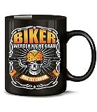Golebros Biker Werden Nicht Grau das ist Chrom 6195 Motorrad Chopper Motorbike Männer Herren Zubehör Accessoires Tasse Becher Kaffeetasse Kaffeebecher Schwarz