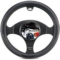 Bottari 16341 Funda Volante para Coche, Universal, Road, Color Negro con Bordado Gris, Talla pequeña: diámetro 35/37 cm, 35-37 cm