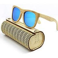 Coface annata di modo da esterno in legno Occhiali da sole UV400 degli occhiali da sole unisex blu