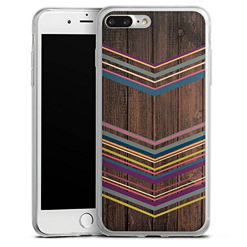 Apple iPhone X Slim Case Silikon Hülle Schutzhülle Holz Farben Muster Silikon Slim Case transparent