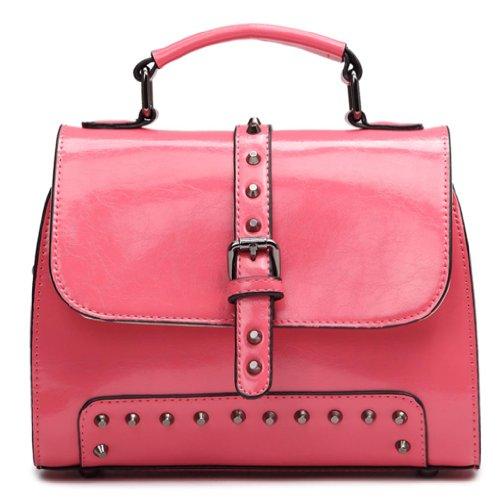 Handtasche Schulter Messengerbags Damen Satchel Schultertaschen mit Mädchen Nieten Leder Rot Moderne KAXIDY q018wX0