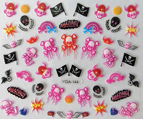 Accessoire ongles : nail art - Stickers autocollants - motifs pirates