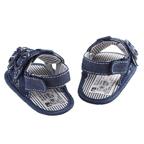 WAYLONGPLUS Baby-Kind-Jungen Prewalker Sommer Leinwand Anti-Rutsch-weiche Sohle Sandalen Blau
