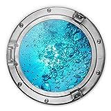 Glasbild rund 3D-Optik Bullauge - Sound of a Ocean Meer Ozean blubbern Bad Luftbläschen Wasser Wall-Art Ø70 cm