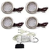 4er Set LED Einbauleuchte Moebelleuchte Einbaustrahler 3W HIGH LED SMD WARMWEISS
