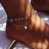 Yesiidor Fußkettchen Damen Kugel Fußkette Herz Stern Muster Silber