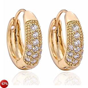 YAZILIND - Orecchini eleganti a cerchio da donna, in oro 14 kt, con intarsi e zirconi cubici, idea regalo
