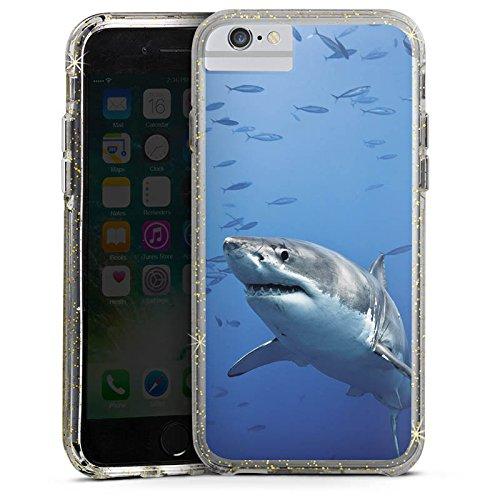 Apple iPhone X Bumper Hülle Bumper Case Glitzer Hülle Hai Shark Fisch Bumper Case Glitzer gold