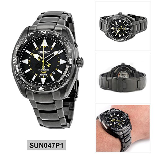 Seiko Prospex Land Kinetic Men's Watch Analogue Quartz Stainless Steel Coated SUN0 47P1