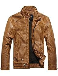 Zicac-Jacket veste blouson en cuir faux homme slim zippé manches longues cascual doublure en duvet
