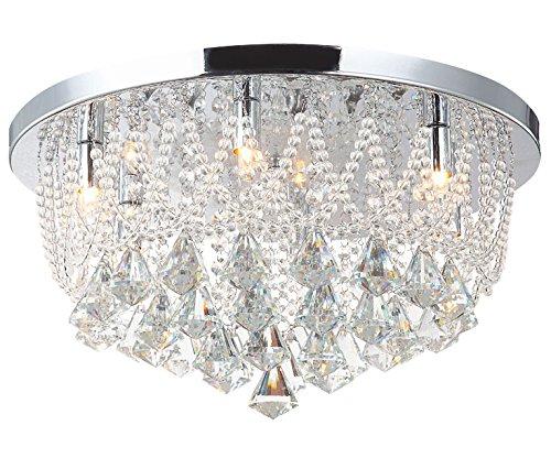 Led Deckenlampe Glas Kristall Strass Kronleuchter Lüster Beleuchtung Deckenleuchte Lampe Leuchte Naida-L 45cm 25W luxuriös inkl. 5xG9 Led Leuchtmittel