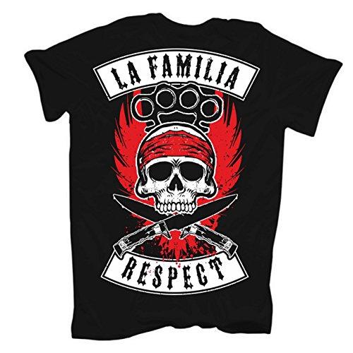 Männer und Herren T-Shirt La Familia RESPECT (mit Rückendruck) Körperbetont schwarz