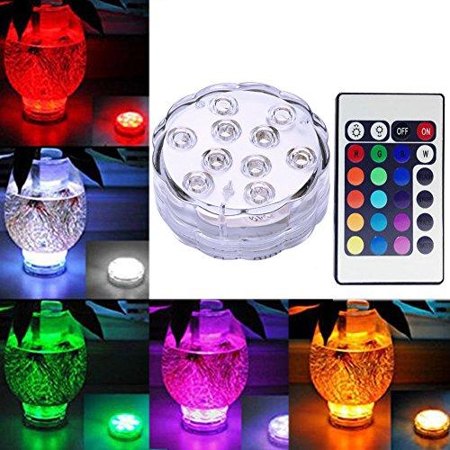 Unterwasser Licht mit Fernbedienung, RGB Multi Farbwechsel Wasserdichte LED Leuchten Teichbeleuchtung für Vase Base, Aquarium Weihnachten Dekoration (1 Stück)