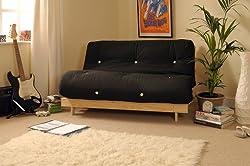 Comfy Living 4ft Small Double 120cm Wooden Futon Set BLACK Mattress