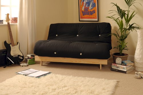 4ft6-135cm-double-wooden-futon-with-black-mattress