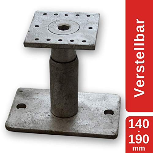 MERK Pfostenträger Stützenfuß höhenverstellbar (Höhe 140-190 mm), feuerverzinkt, mit Zulassung