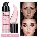 Perfectshow Make up Basis 3 Farben (Grün, Rosa, Lila) Concealer MakeUp Liquid Foundation Feuchtigkeitsspendende Erhellen White Skin (6ml,12ml,30ml) (30ml 01#)