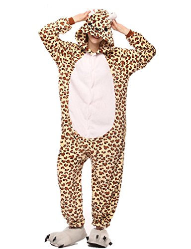 URVIP Unisex Festliche Anzug Flanell Pyjamas Trickfilm Jumpsuit Tier Cartoon Fasching Halloween Kostüm Sleepsuit Party Cosplay Pyjama Schlafanzug Leopard Bär Medium