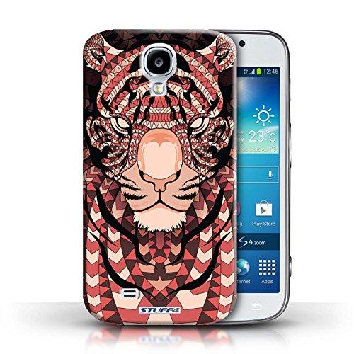 Coque en plastique pour Samsung Galaxy S4/SIV Collection Motif Animaux Aztec - Tigre-Mono Tigre-Rouge