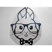 Bügelbild, Motiv: Hase mit Brille, Farbe: schwarz, Größe: 16x20,5cm, heißsiegelfähige Flockfolie auf Basis von Viskosefasern