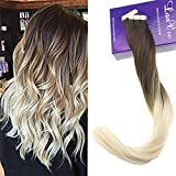 LaaVoo 18Pouce Cheveux Tape Extensions Bande Adhesif 20 pcs Glue in Human Hair Extensions Skin Weft Adhesif 50g (Chocolat Brun Balayage Blond Platine #4/60)