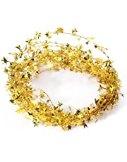Parkparty Wire Star Tinsel Garland Christmas Decoration (15 ft , Golden)