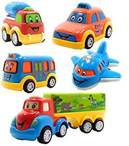 SaleOn Set of 5 Unbreakable Friction Powered Pull Back Automobile Car Plane Truck Toys for Kids (1055)