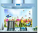 ufengke Tulipani Colorati e Farfalle Adesivi Murali, Foglio di Alluminio Prova di Olio Adesivi da Parete Removibili/Stickers Murali/Decorazione Murale per la Cucina