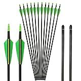 Toparchery 12er 31 Zoll Carbonpfeile für Recurvebogen, Langbogen Oder Compoundbögen mit Spinewert ca 400 für Bogen und Bogenschießen