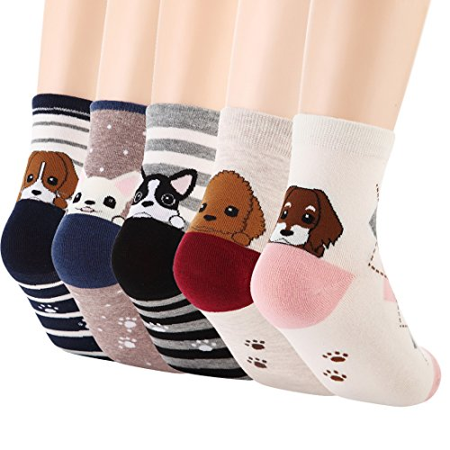 Damen Cartoon Hunde Socken Neuheit Welt Casual Baumwolle Socken 5er pack (One Size, Muster D) (Muster Socken Casual)