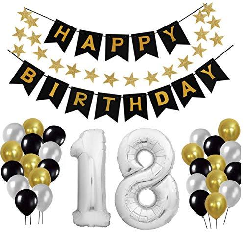 tion Set, Deko Geburtstag, Geburtstagsdeko, Happy Birthday Dekoration. Zahlen Luftballons Silber 101cm + 24 Große Geperlte Ballons + 1 Happy Birthday Banner ()