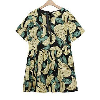 PU&PU Robe Aux femmes Ample Chic de Rue,Imprimé Col Arrondi Au dessus du genou Polyester BLACK-S