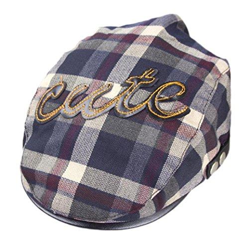 Casquette,Fulltime Toddler Enfants Plaid Beret Cap Cabbie plat Peaked Chapeau England College Style Gris