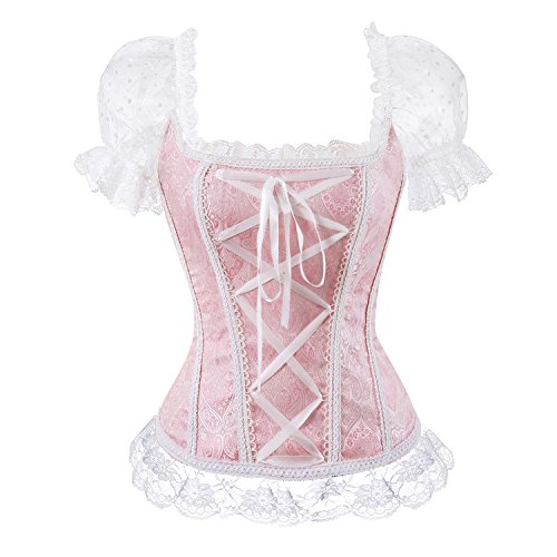 Prinzessin Renaissance Lace-up Lace Floral Korsett Ärmelloses Rüschen Elegantes Overbust Bustier mit trägerlosen Top Pink XL (Satin Sexy Korsett Trägerlosen)