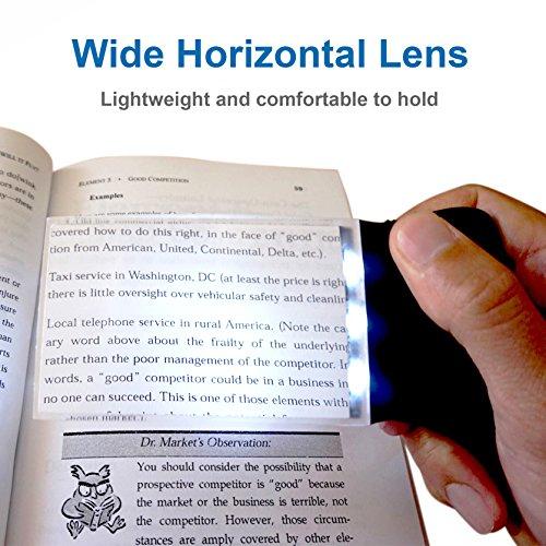 Fancii LED 2X großes rechteckiges Leselupe Handlupe mit Licht – 102 x 58 mm randlose unverzerrte Lupe mit Beleuchtung geeignet für Senioren, zum lesen von Büchern, Magazinen, Zeitungen und Landkarten - 4