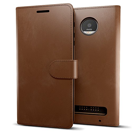 MTT® Premium Leather Flip Wallet Case with Card Slot for Moto Z Play (2016) (Brown)