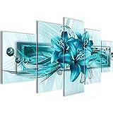 Bilder Blumen Lilien Wandbild 100 x 50 cm Vlies   Leinwand Bild XXL Format Wandbilder Wohnzimmer Wohnung Deko Kunstdrucke Blau 5 Teilig   MADE IN GERMANY   Fertig zum Aufhängen 008752a