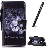 Slynmax - Funda de piel con tapa para HTC One M10 (incluye lápiz capacitivo), color negro, English Lion