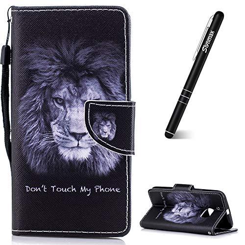 Slynmax Schutzhülle für HTC One M10, Leder, mit Standfunktion, inkl. Eingabestift English Lion -