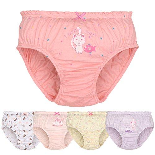 Mädchen Katze Unterhosen 100% Baumwolle Unterwäsche 5er Pack Schlüpfer Set Rosa für Kinder 3 Jahre (Höschen Set Mädchen)