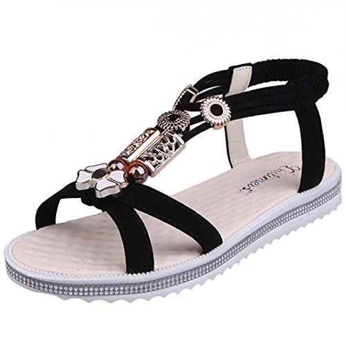 Kingko® Perlen Sandalen Studenten flache rutschige modische Ärmel Schwarz